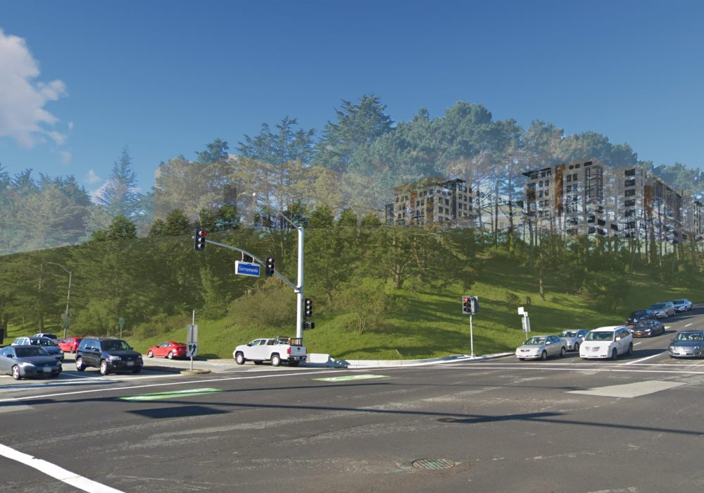 View with Project (existing trees to remain and are shown as transparent)